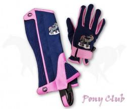 """Zestaw sztylpy + rękawiczki """"Pony Club"""" granatowo-różowy"""